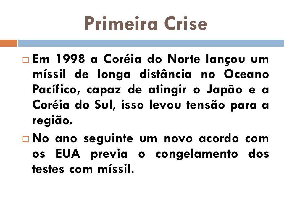 Primeira Crise Em 1998 a Coréia do Norte lançou um míssil de longa distância no Oceano Pacífico, capaz de atingir o Japão e a Coréia do Sul, isso levo