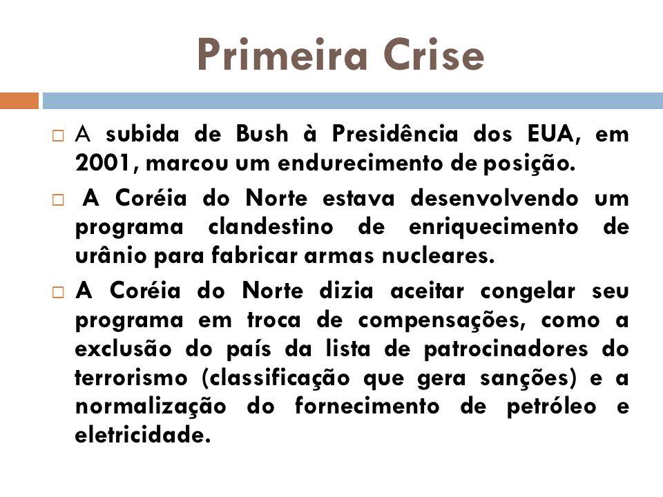 Primeira Crise A subida de Bush à Presidência dos EUA, em 2001, marcou um endurecimento de posição. A Coréia do Norte estava desenvolvendo um programa