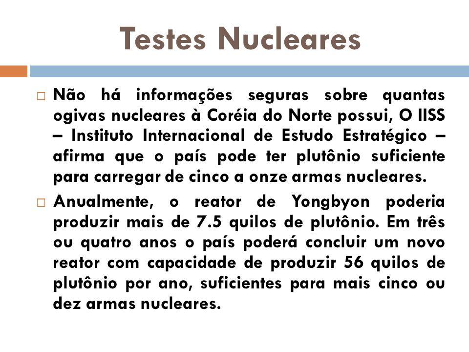 Testes Nucleares Não há informações seguras sobre quantas ogivas nucleares à Coréia do Norte possui, O IISS – Instituto Internacional de Estudo Estrat