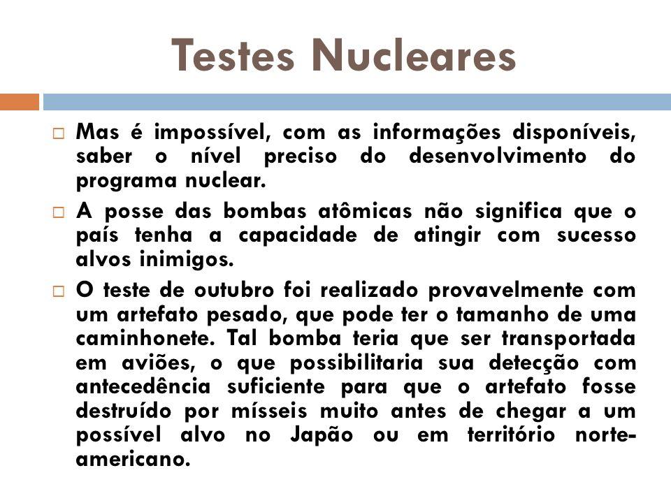 Testes Nucleares Mas é impossível, com as informações disponíveis, saber o nível preciso do desenvolvimento do programa nuclear. A posse das bombas at