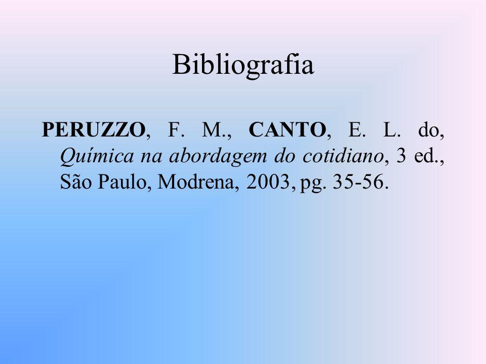 Bibliografia PERUZZO, F. M., CANTO, E. L. do, Química na abordagem do cotidiano, 3 ed., São Paulo, Modrena, 2003, pg. 35-56.