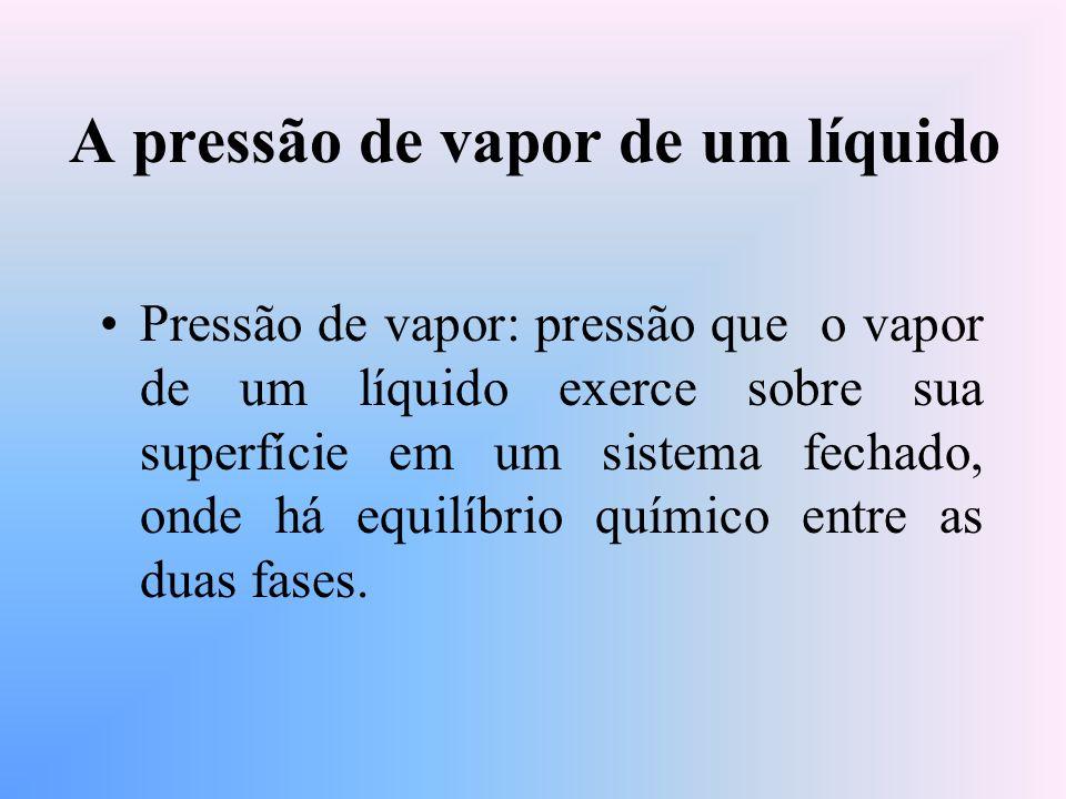 A pressão de vapor de um líquido Pressão de vapor: pressão que o vapor de um líquido exerce sobre sua superfície em um sistema fechado, onde há equilíbrio químico entre as duas fases.