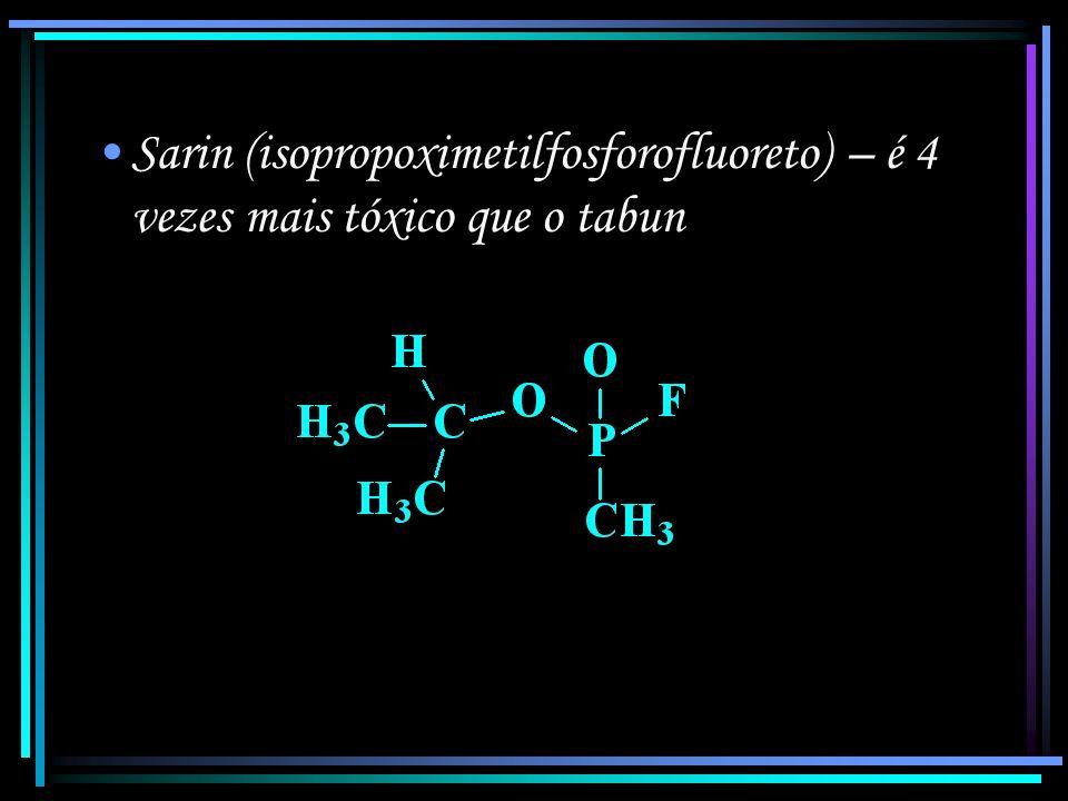 Tabun (ácido dimetilfosforamidocianídrico) É um gás incolor, inodoro, que atua tanto por inalação quanto por absorção cutânea.
