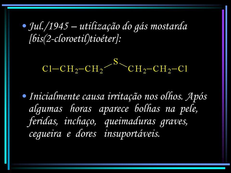 19/set/1915 – utilização do gás fosgênio (cloreto de carbonila): Gás 18 vezes mais tóxico que o Cl 2, incolor e inodoro, que possui ação retardada sen