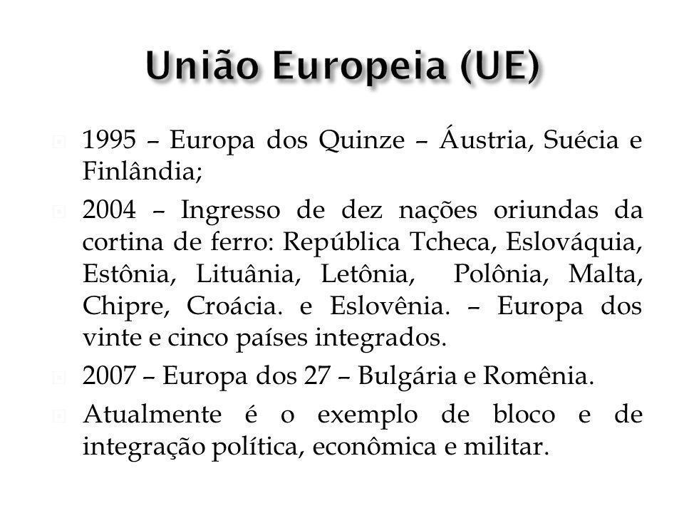 1995 – Europa dos Quinze – Áustria, Suécia e Finlândia; 2004 – Ingresso de dez nações oriundas da cortina de ferro: República Tcheca, Eslováquia, Estô