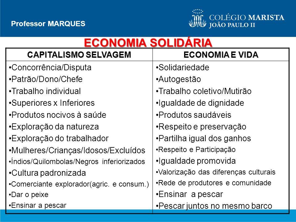 Professor MARQUES ECONOMIA SOLIDÁRIA CAPITALISMO SELVAGEM ECONOMIA E VIDA Concorrência/Disputa Patrão/Dono/Chefe Trabalho individual Superiores x Infe