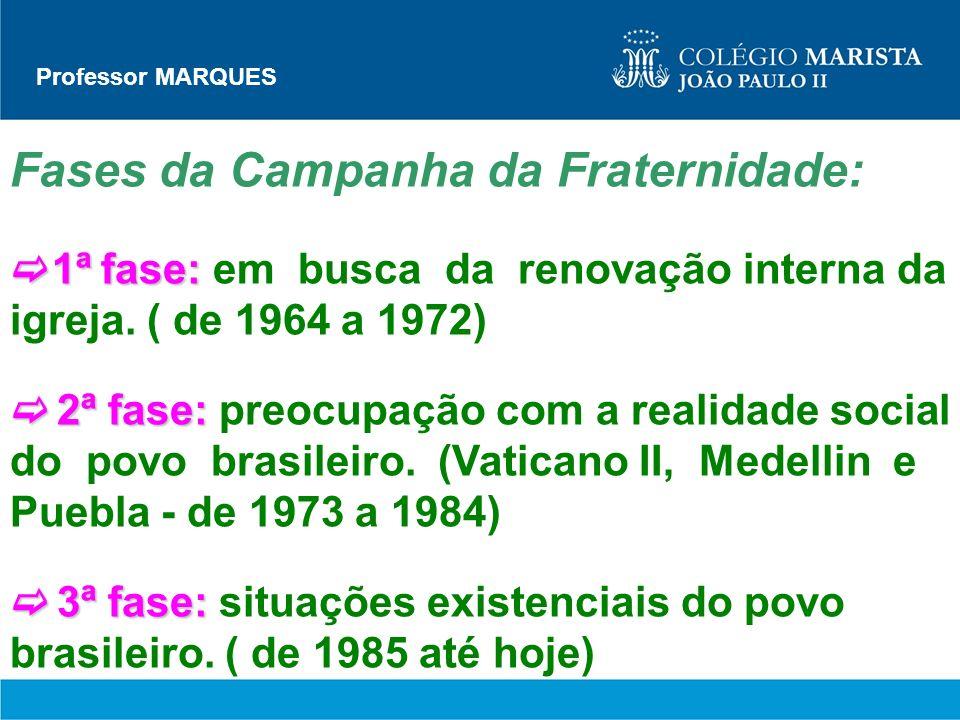 Professor MARQUES Fases da Campanha da Fraternidade: 1ª fase: 1ª fase: em busca da renovação interna da igreja. ( de 1964 a 1972) 2ª fase: 2ª fase: pr