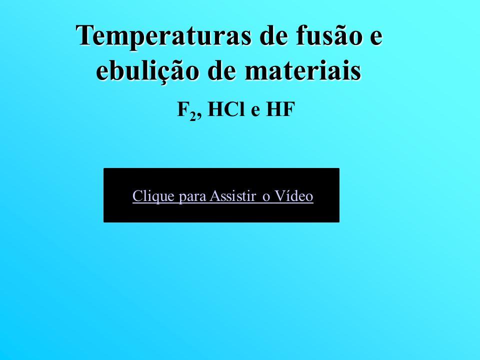 F 2, HCl e HF Temperaturas de fusão e ebulição de materiais Clique para Assistir o Vídeo