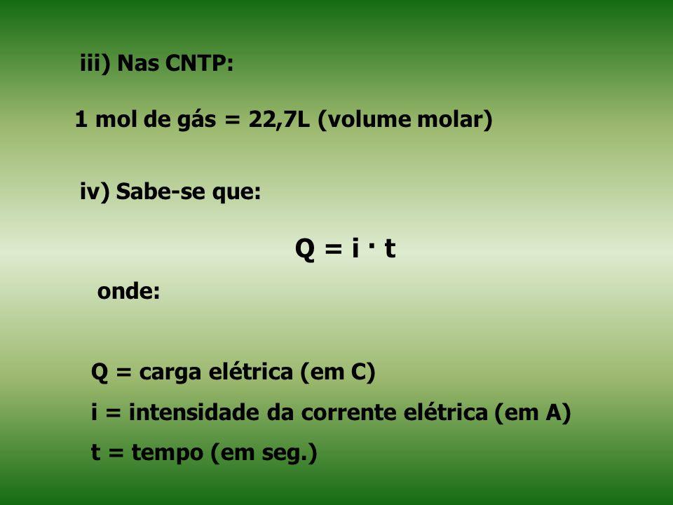 iii) Nas CNTP: 1 mol de gás = 22,7L (volume molar) iv) Sabe-se que: Q = i · t onde: Q = carga elétrica (em C) i = intensidade da corrente elétrica (em A) t = tempo (em seg.)