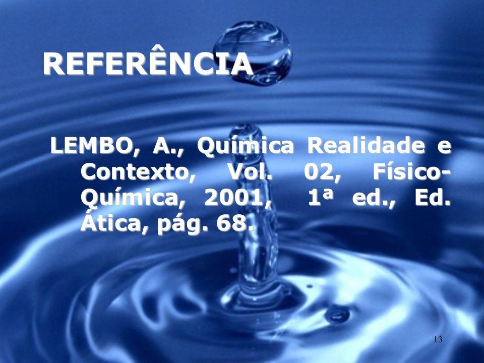 13 REFERÊNCIA LEMBO, A., Química Realidade e Contexto, Vol. 02, Físico- Química, 2001, 1ª ed., Ed. Ática, pág. 68.