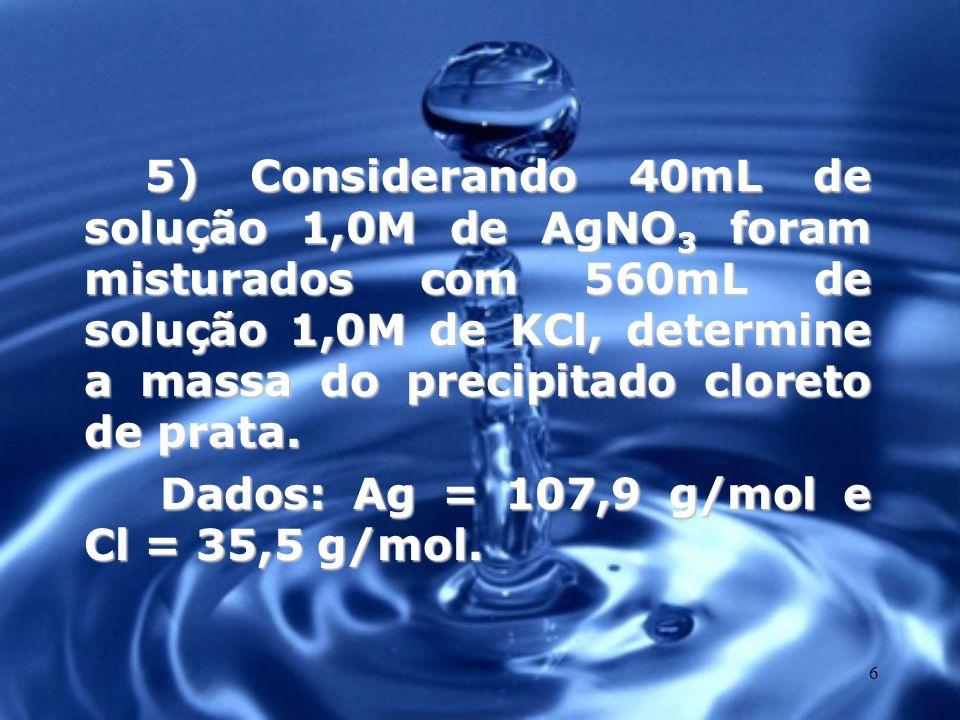 7 6) 20g de soda cáustica, uma mistura de hidróxido de sódio com impurezas, foram dissolvidos em água suficiente para 200mL de solução.
