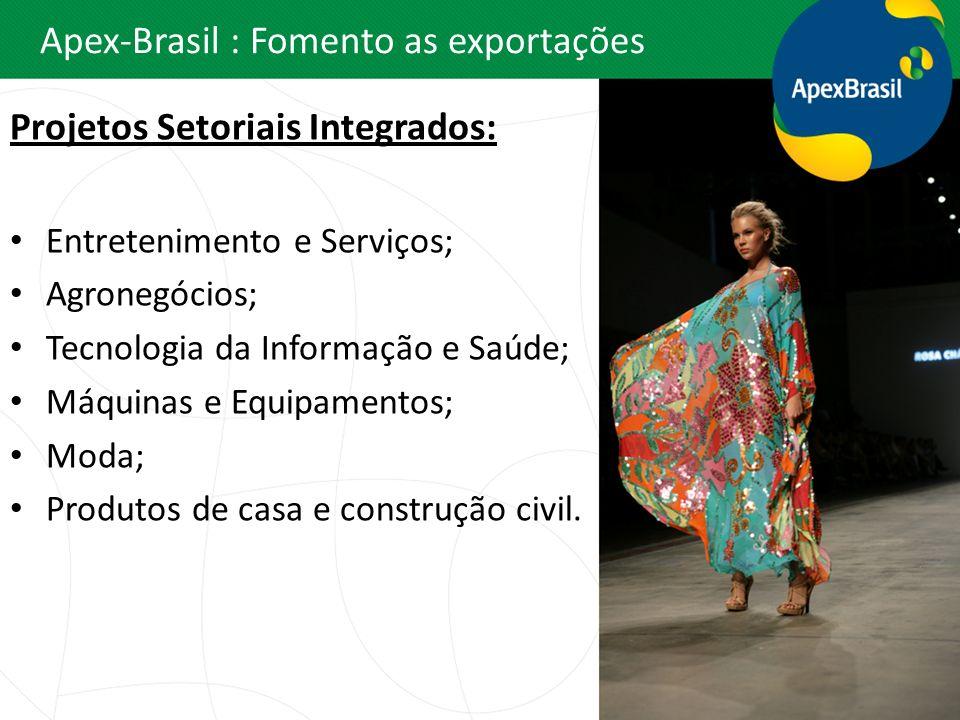 Apex-Brasil : Fomento as exportações Projetos Setoriais Integrados: Entretenimento e Serviços; Agronegócios; Tecnologia da Informação e Saúde; Máquina