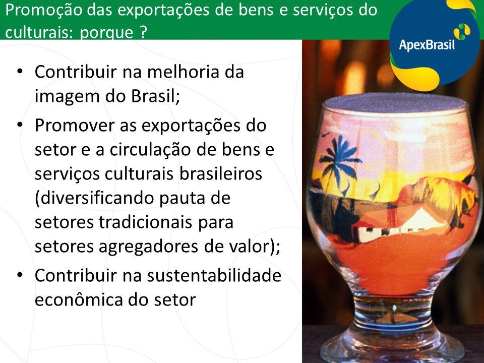 Promoção das exportações de bens e serviços do culturais: porque ? Contribuir na melhoria da imagem do Brasil; Promover as exportações do setor e a ci
