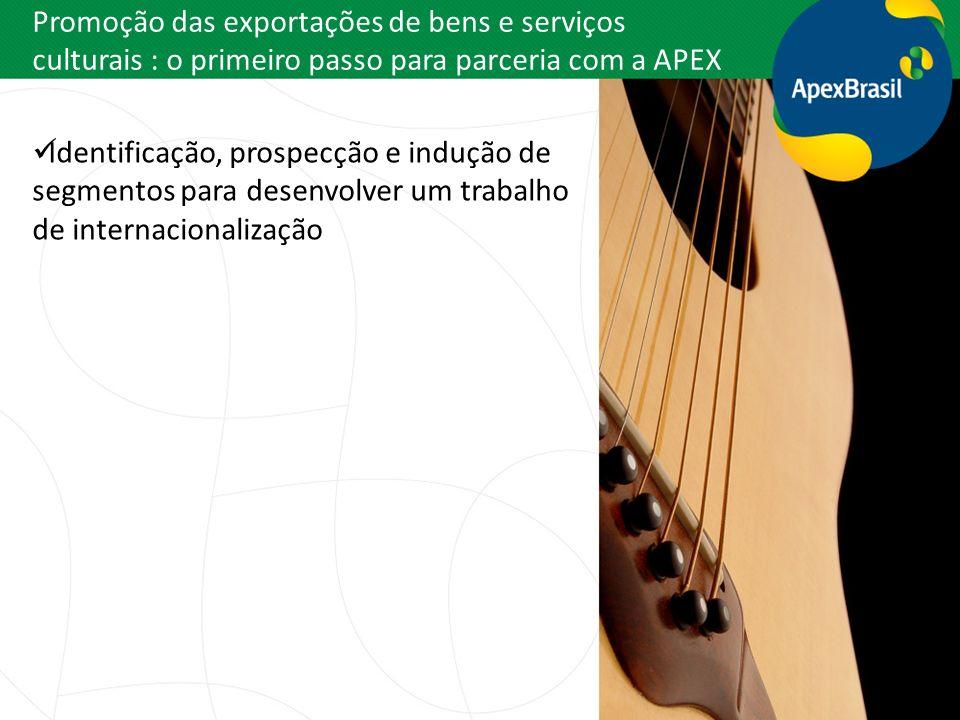 Promoção das exportações de bens e serviços culturais : o primeiro passo para parceria com a APEX Identificação, prospecção e indução de segmentos par