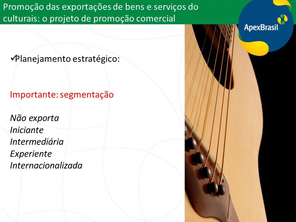 Promoção das exportações de bens e serviços do culturais: o projeto de promoção comercial Planejamento estratégico: Importante: segmentação Não export