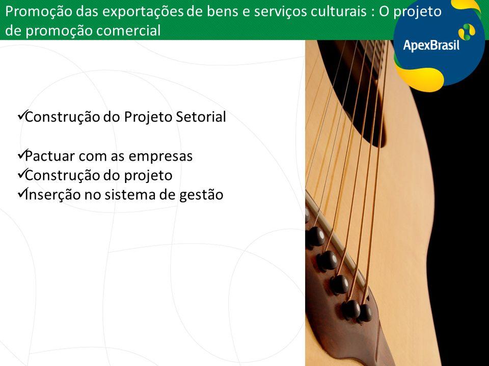 Promoção das exportações de bens e serviços culturais : O projeto de promoção comercial Construção do Projeto Setorial Pactuar com as empresas Constru