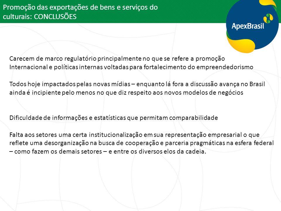 Promoção das exportações de bens e serviços do culturais: CONCLUSÕES Carecem de marco regulatório principalmente no que se refere a promoção Internaci