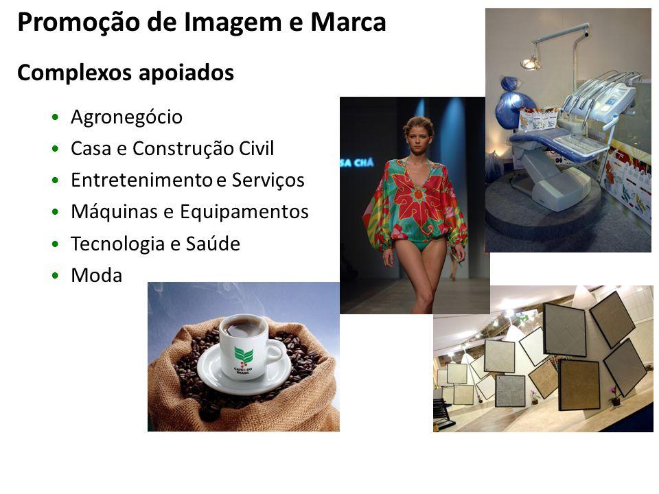 Promoção de Imagem e Marca Complexos apoiados Agronegócio Casa e Construção Civil Entretenimento e Serviços Máquinas e Equipamentos Tecnologia e Saúde