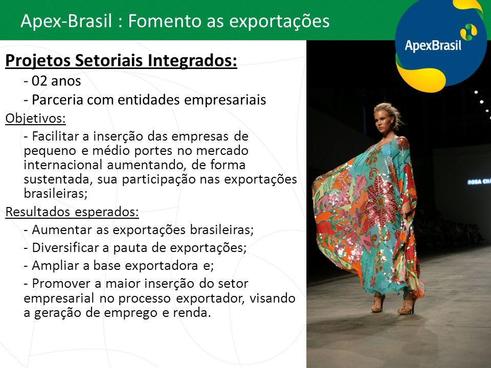 Apex-Brasil : Fomento as exportações Projetos Setoriais Integrados: - 02 anos - Parceria com entidades empresariais Objetivos: - Facilitar a inserção