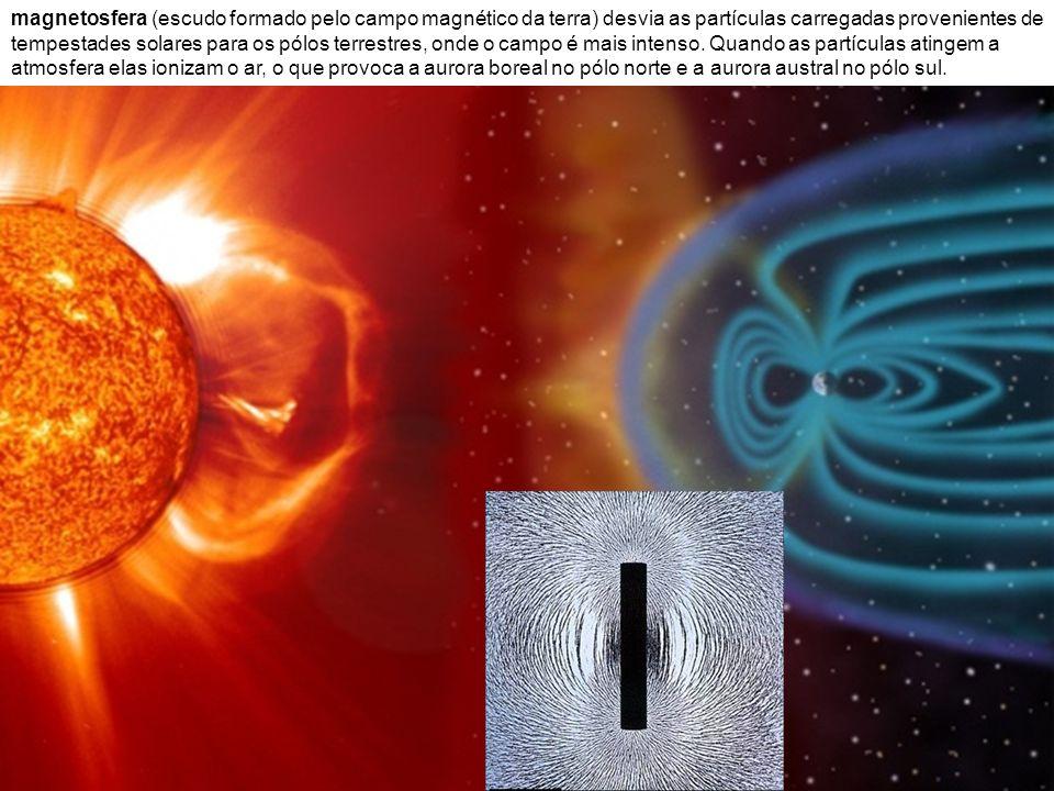 magnetosfera (escudo formado pelo campo magnético da terra) desvia as partículas carregadas provenientes de tempestades solares para os pólos terrestr