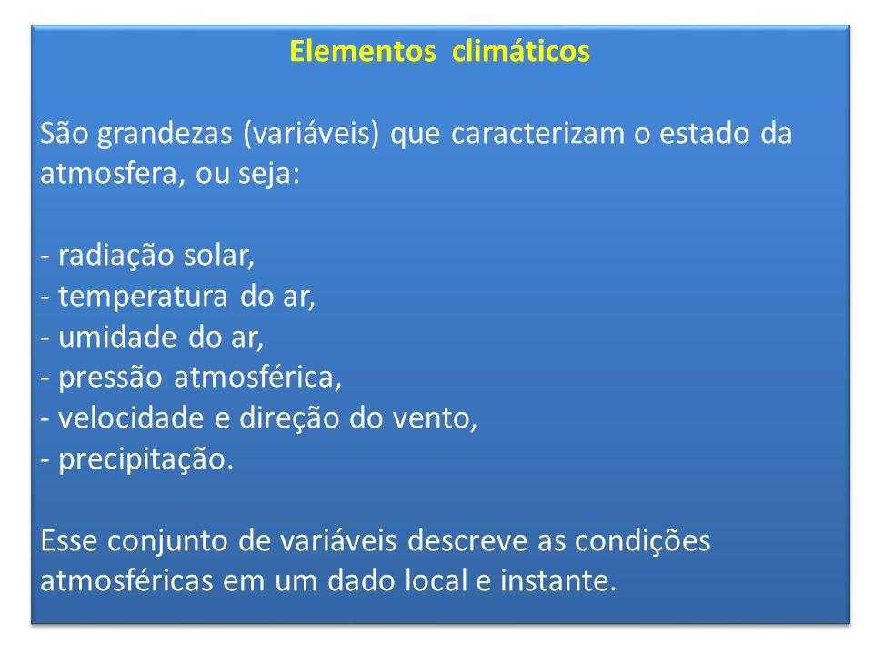 Elementos climáticos São grandezas (variáveis) que caracterizam o estado da atmosfera, ou seja: - radiação solar, - temperatura do ar, - umidade do ar