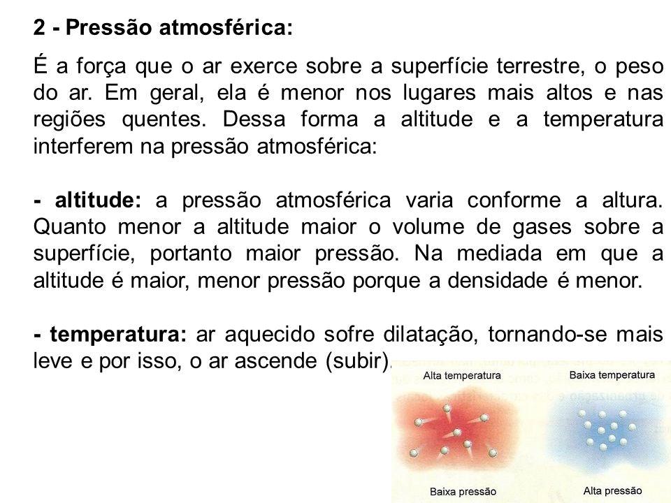 2 - Pressão atmosférica: É a força que o ar exerce sobre a superfície terrestre, o peso do ar. Em geral, ela é menor nos lugares mais altos e nas regi