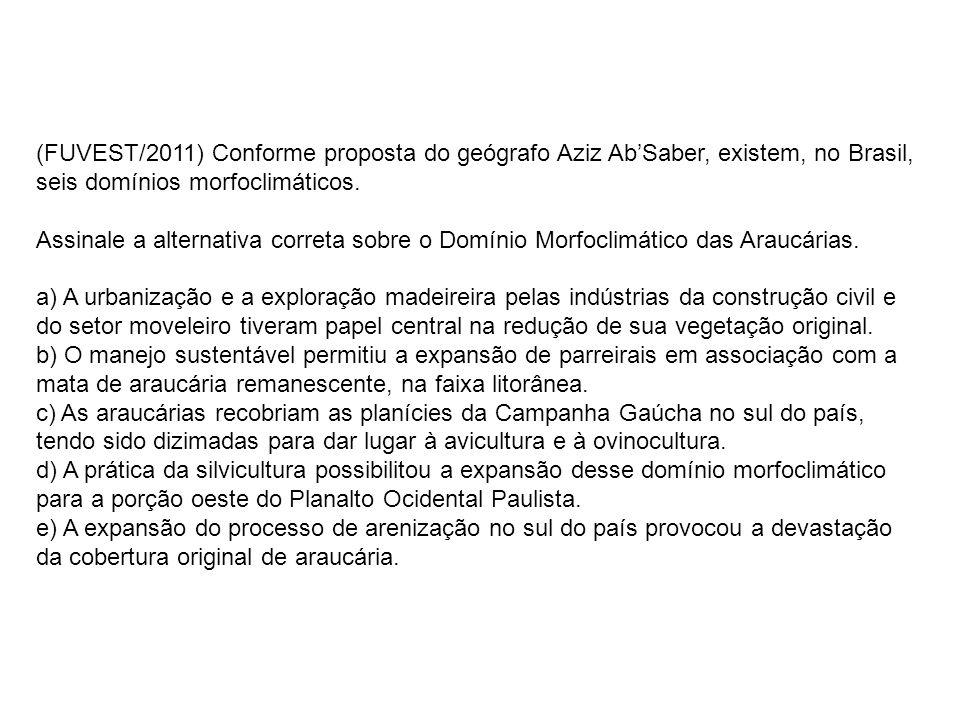 (FUVEST/2011) Conforme proposta do geógrafo Aziz AbSaber, existem, no Brasil, seis domínios morfoclimáticos. Assinale a alternativa correta sobre o Do