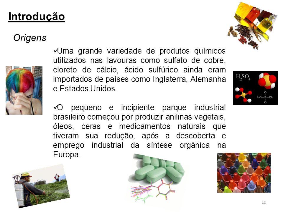 Uma grande variedade de produtos químicos utilizados nas lavouras como sulfato de cobre, cloreto de cálcio, ácido sulfúrico ainda eram importados de p
