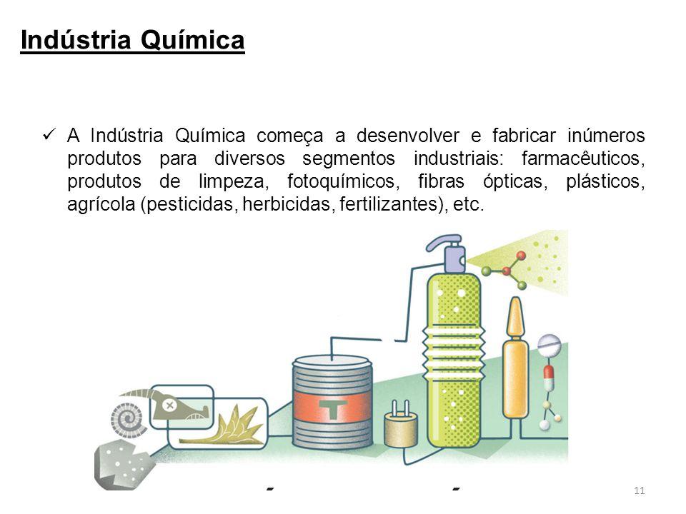 A Indústria Química começa a desenvolver e fabricar inúmeros produtos para diversos segmentos industriais: farmacêuticos, produtos de limpeza, fotoquímicos, fibras ópticas, plásticos, agrícola (pesticidas, herbicidas, fertilizantes), etc.