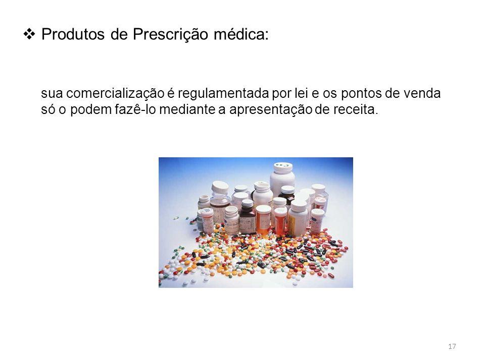 Produtos de Prescrição médica: sua comercialização é regulamentada por lei e os pontos de venda só o podem fazê-lo mediante a apresentação de receita.