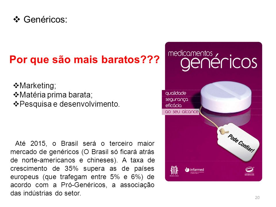 Por que são mais baratos??? Até 2015, o Brasil será o terceiro maior mercado de genéricos (O Brasil só ficará atrás de norte-americanos e chineses). A
