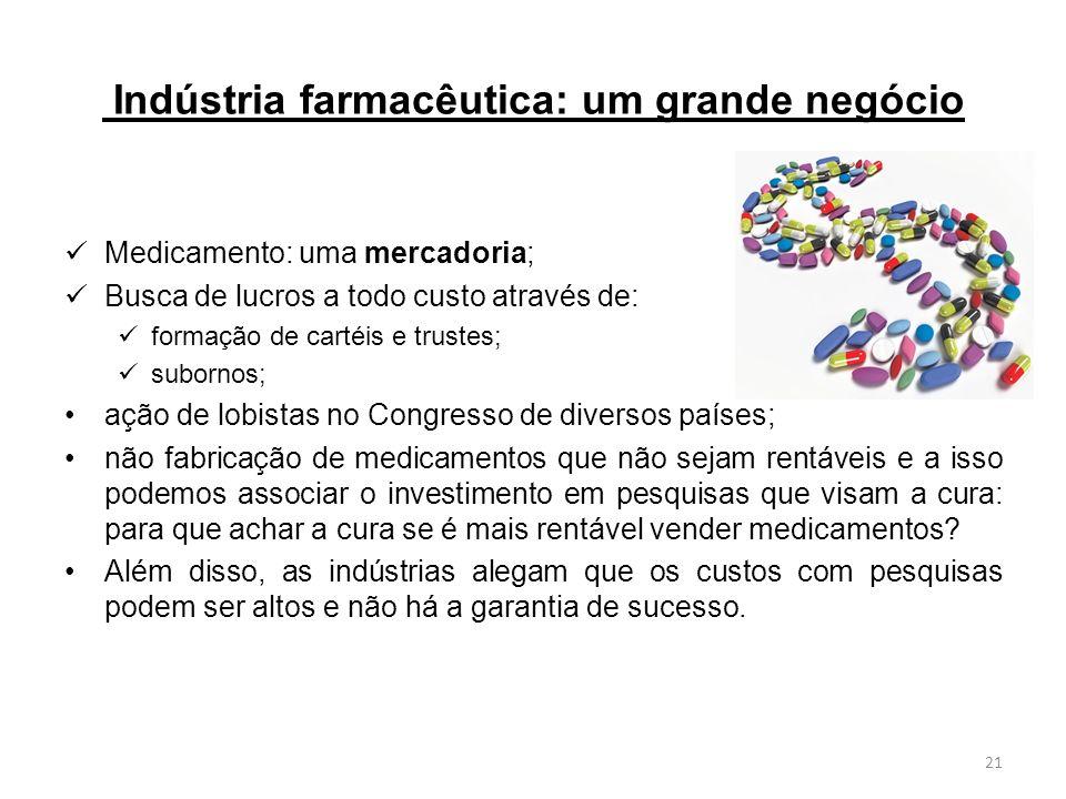 Indústria farmacêutica: um grande negócio Medicamento: uma mercadoria; Busca de lucros a todo custo através de: formação de cartéis e trustes; suborno