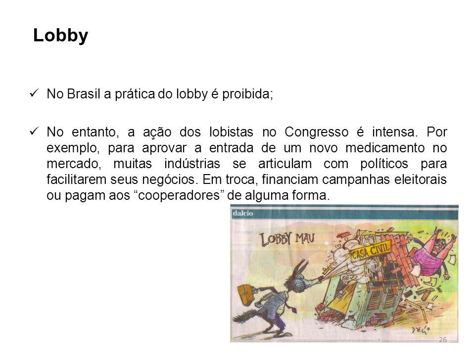 No Brasil a prática do lobby é proibida; No entanto, a ação dos lobistas no Congresso é intensa. Por exemplo, para aprovar a entrada de um novo medica