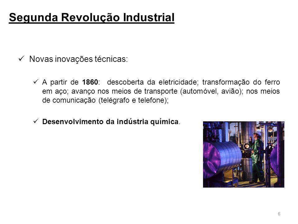 Novas inovações técnicas: A partir de 1860: descoberta da eletricidade; transformação do ferro em aço; avanço nos meios de transporte (automóvel, avião); nos meios de comunicação (telégrafo e telefone); Desenvolvimento da indústria química.