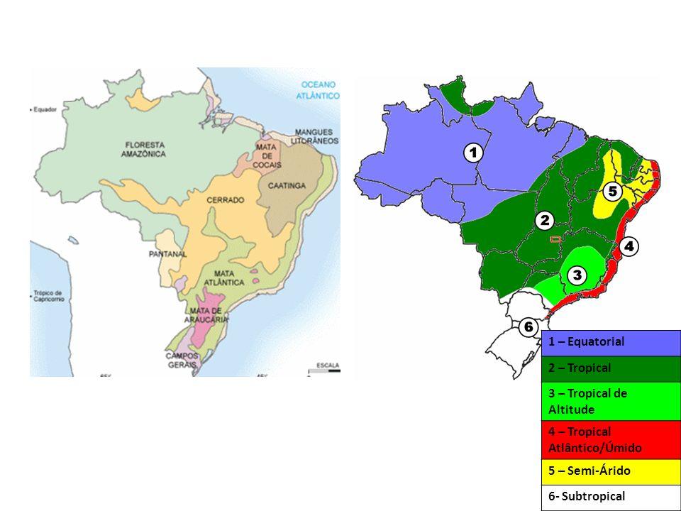 1 – Equatorial 2 – Tropical 3 – Tropical de Altitude 4 – Tropical Atlântico/Úmido 5 – Semi-Árido 6- Subtropical
