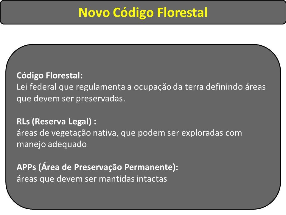 Novo Código Florestal Código Florestal: Lei federal que regulamenta a ocupação da terra definindo áreas que devem ser preservadas. RLs (Reserva Legal)