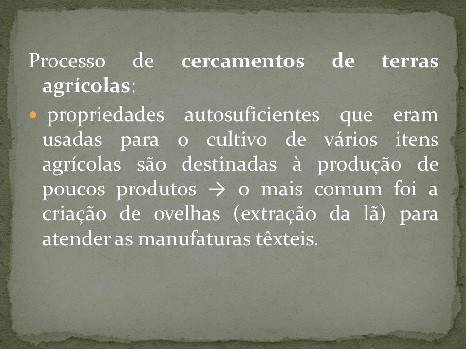Processo de cercamentos de terras agrícolas: propriedades autosuficientes que eram usadas para o cultivo de vários itens agrícolas são destinadas à pr