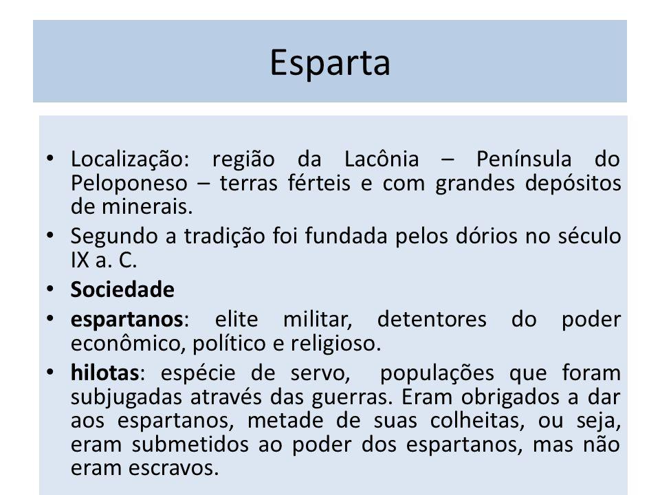 Esparta Localização: região da Lacônia – Península do Peloponeso – terras férteis e com grandes depósitos de minerais. Segundo a tradição foi fundada