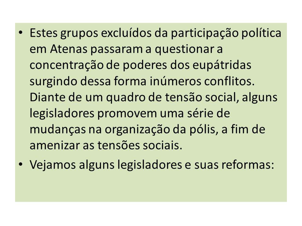 Estes grupos excluídos da participação política em Atenas passaram a questionar a concentração de poderes dos eupátridas surgindo dessa forma inúmeros