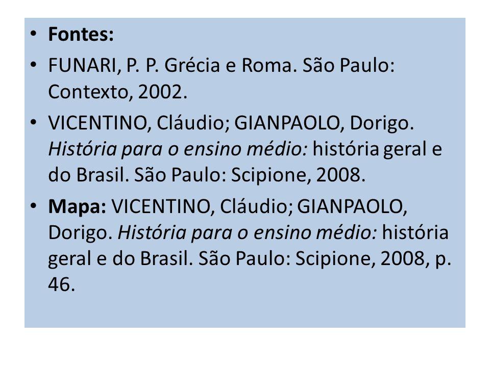Fontes: FUNARI, P. P. Grécia e Roma. São Paulo: Contexto, 2002. VICENTINO, Cláudio; GIANPAOLO, Dorigo. História para o ensino médio: história geral e