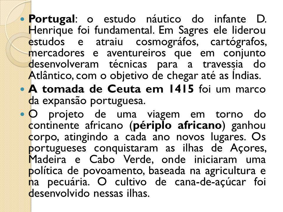 Portugal: o estudo náutico do infante D. Henrique foi fundamental. Em Sagres ele liderou estudos e atraiu cosmográfos, cartógrafos, mercadores e avent