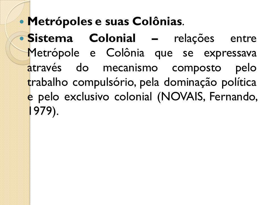 Metrópoles e suas Colônias. Sistema Colonial – relações entre Metrópole e Colônia que se expressava através do mecanismo composto pelo trabalho compul