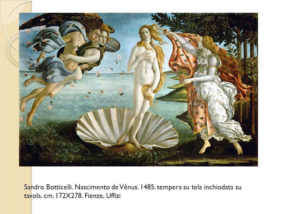 Sandro Botticelli. Nascimento de Vênus. 1485. tempera su tela inchiodata su tavola. cm. 172X278. Fienze, Uffizi