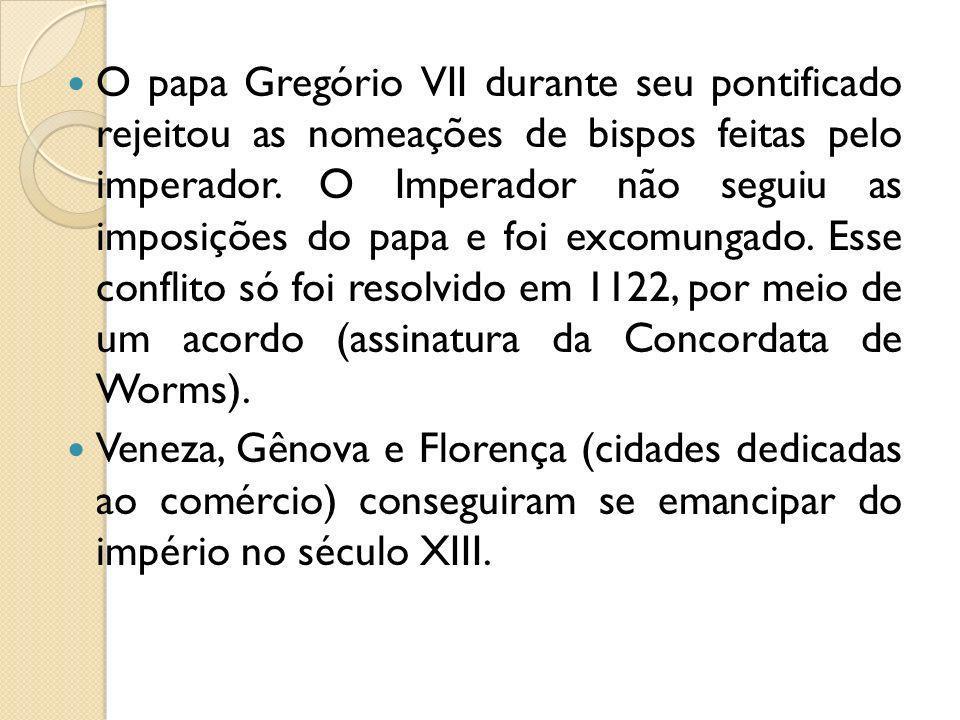 O papa Gregório VII durante seu pontificado rejeitou as nomeações de bispos feitas pelo imperador. O Imperador não seguiu as imposições do papa e foi