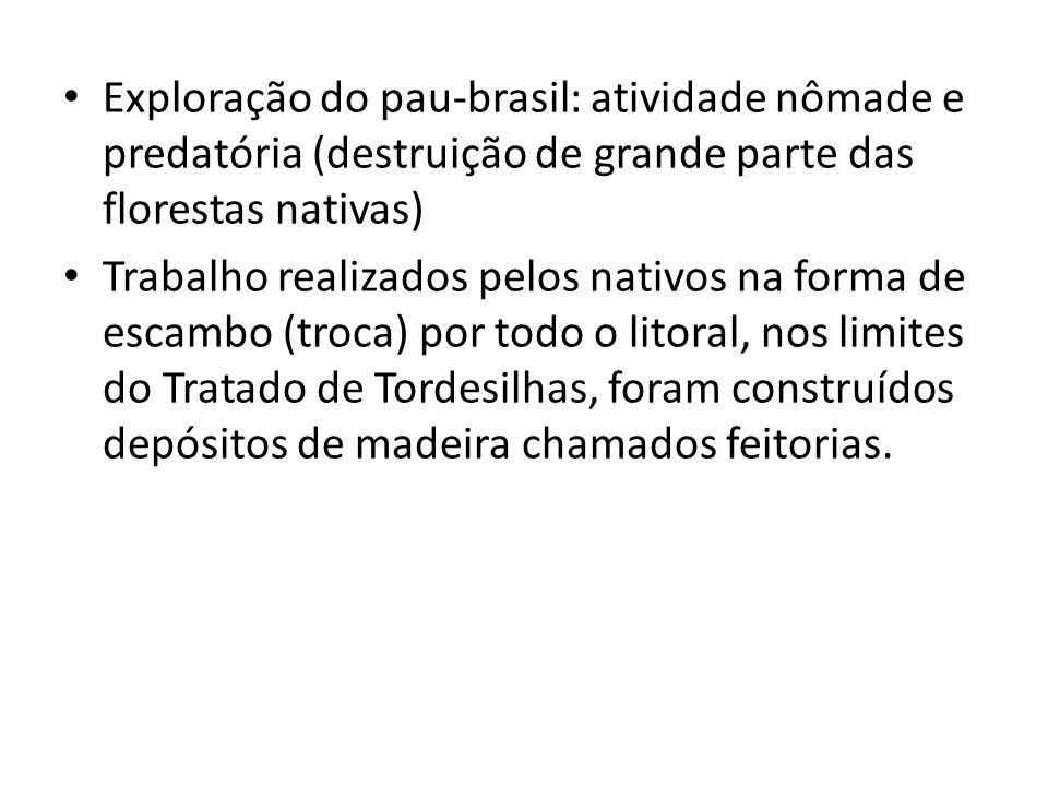 Exploração do pau-brasil: atividade nômade e predatória (destruição de grande parte das florestas nativas) Trabalho realizados pelos nativos na forma