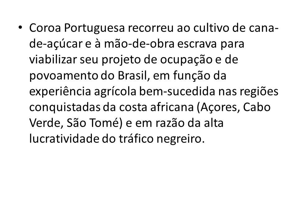 Coroa Portuguesa recorreu ao cultivo de cana- de-açúcar e à mão-de-obra escrava para viabilizar seu projeto de ocupação e de povoamento do Brasil, em