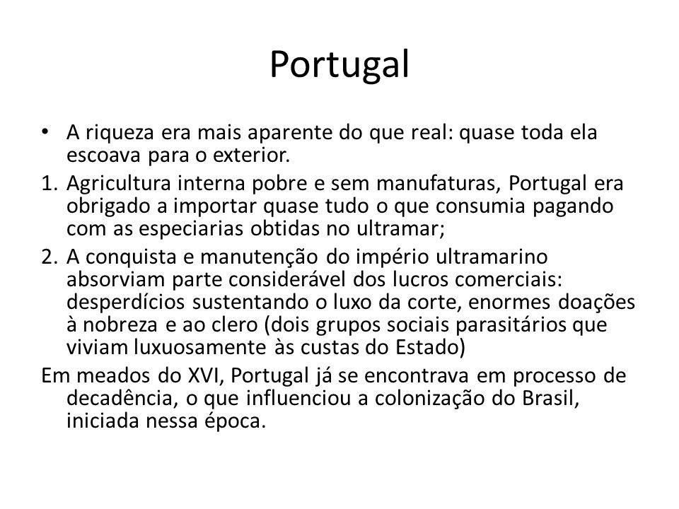 Portugal A riqueza era mais aparente do que real: quase toda ela escoava para o exterior. 1.Agricultura interna pobre e sem manufaturas, Portugal era