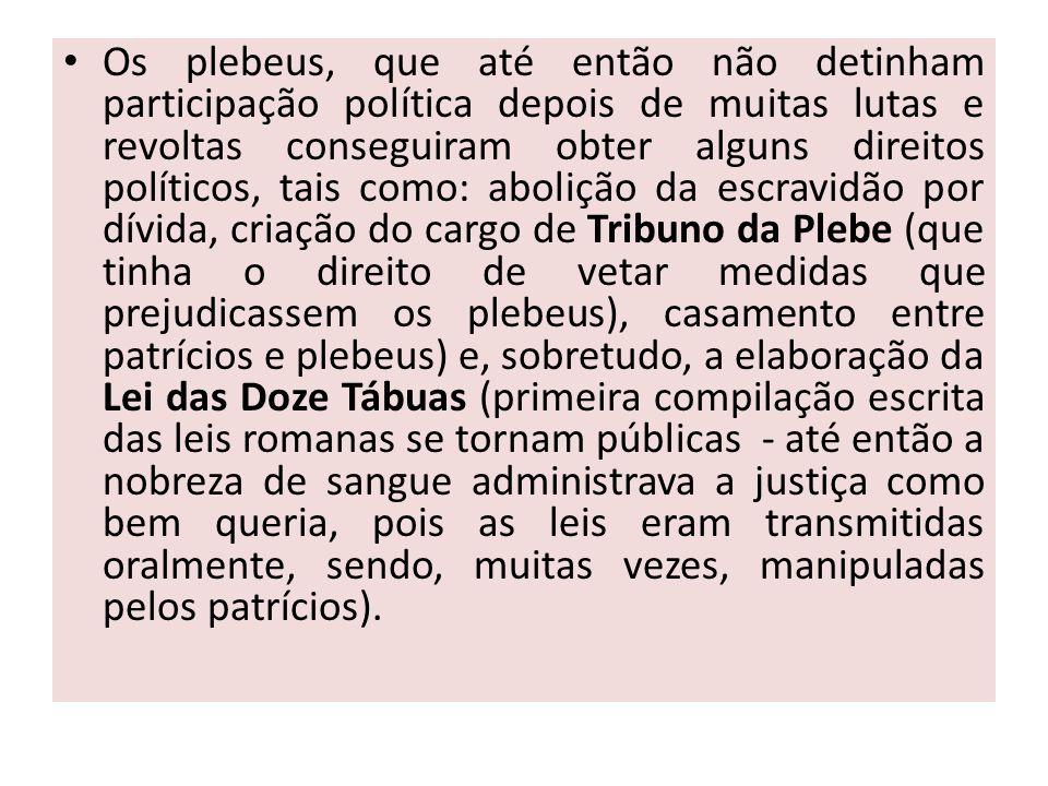 Os plebeus, que até então não detinham participação política depois de muitas lutas e revoltas conseguiram obter alguns direitos políticos, tais como: