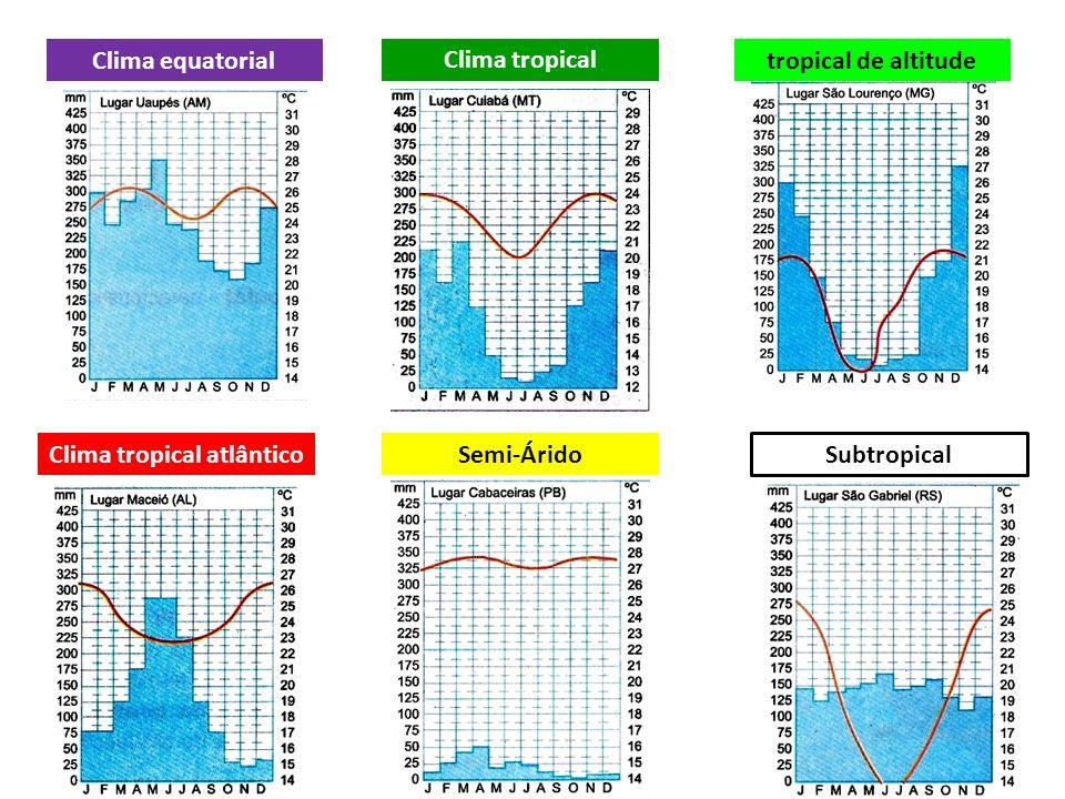 Clima tropical atlântico Clima equatorial Clima tropical tropical de altitude Semi-Árido Subtropical
