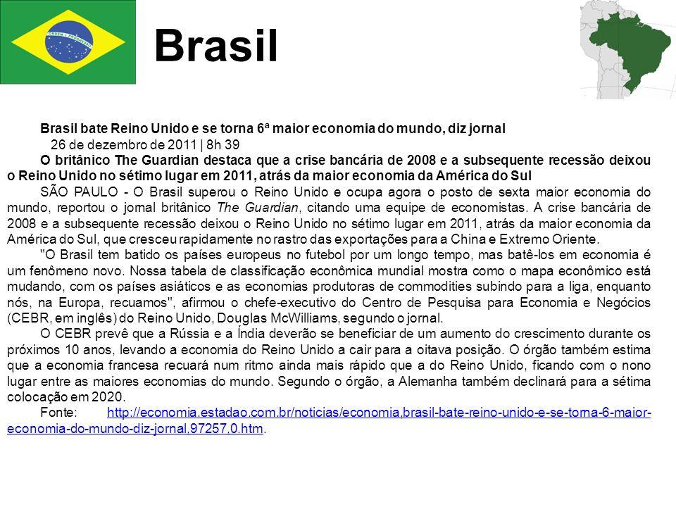 Brasil Brasil bate Reino Unido e se torna 6ª maior economia do mundo, diz jornal 26 de dezembro de 2011 | 8h 39 O britânico The Guardian destaca que a